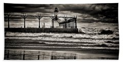 Lighthouse Reflections In Black And White Beach Sheet