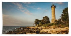 Beach Towel featuring the photograph Lighthouse Savudrija by Davorin Mance