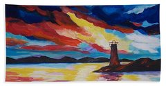 Beach Towel featuring the painting Lighthouse Storm by Leslie Allen