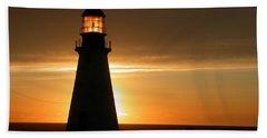 Lighthouse Sunset Beach Towel