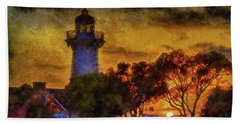 Lighthouse Sunset Beach Towel