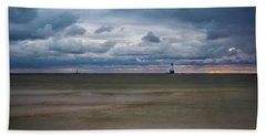 Lighthouse Under Brewing Clouds Beach Sheet