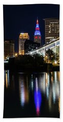 Beach Towel featuring the photograph Lighting Up Cleveland by Dale Kincaid