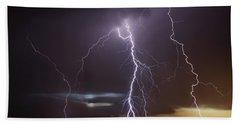 Lightning At Dusk Beach Towel