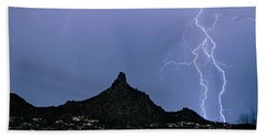 Beach Sheet featuring the photograph Lightning Bolts And Pinnacle Peak North Scottsdale Arizona by James BO Insogna