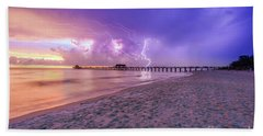 Lightning Naples Pier Beach Towel