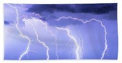 Lightning On The Plains Beach Towel