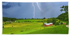 Lightning Storm Over Jenne Farm Beach Towel