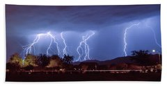 Lightning Over Laveen Beach Towel
