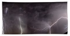 Lightning Over Perris Beach Towel