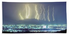 Beach Towel featuring the photograph Lightning Over Phoenix Arizona Panorama by James BO Insogna