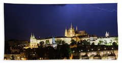 Beach Towel featuring the photograph Lightning Over Prague Castle by Alex Lapidus