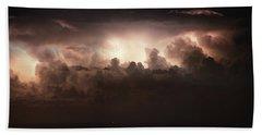 Lightning Over The Straits Of Messina Beach Sheet