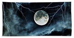 Lightning Sky At Full Moon Beach Sheet