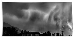 Lightning Storm Over The Snake River Ranch, Wyoming Beach Towel by Wernher Krutein