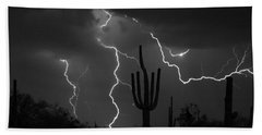 Lightning Storm Saguaro Fine Art Bw Photography Beach Towel