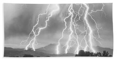 Lightning Striking Longs Peak Foothills 4cbw Beach Towel