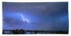 Beach Towel featuring the photograph Lightning Striking Over Boulder Reservoir by James BO Insogna