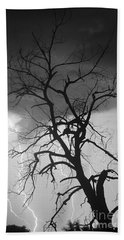 Lightning Tree Silhouette Portrait Bw Beach Towel