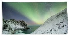 Lights Above Kvalvika Beach Towel