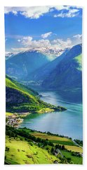 Lights And Shadows Of Sognefjord Beach Towel by Dmytro Korol
