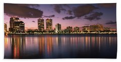 Lights At Night In West Palm Beach Beach Towel