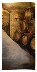 Beach Towel featuring the painting Lights In The Wine Cellar - Chateau Meichtry Vineyard by Jan Dappen