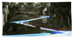 Lights On Lombard Black And White Beach Towel