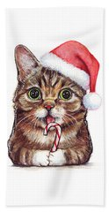 Lil Bub Cat In Santa Hat Beach Towel