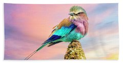 Lilac Breasted Roller At Sunset Beach Towel by Brian Tarr