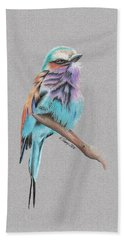 Beach Towel featuring the drawing Lilac Breasted Roller by Gary Stamp