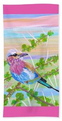 Lilac Breasted Roller In Thorn Tree Beach Sheet by Phyllis Kaltenbach