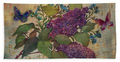 Lilac Dreams Illustrated Butterfly Beach Towel