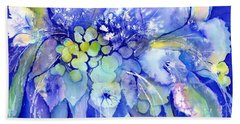 Lilac Flowers With Berries Beach Towel