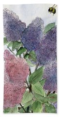 Lilacs And Bees Beach Towel