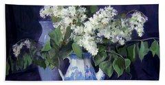 Lilacs And Blue Beach Towel