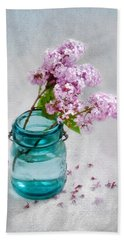 Lilacs In A Glass Jar Still Life Beach Sheet