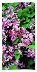Beach Towel featuring the painting Lilacs In May by Sandy MacGowan