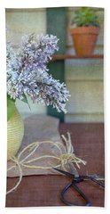 Lilacs In Yellow Vase Beach Towel