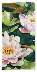 Lilies And Dragonflies Beach Sheet