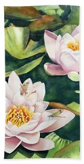 Lilies And Dragonflies Beach Towel