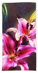 Lilies At Night Beach Sheet