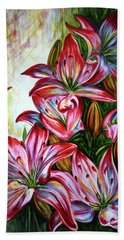 Beach Towel featuring the painting Lilies by Harsh Malik