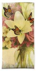 Lililies And Roses Beach Sheet by Maria Urso