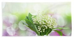 Lilly Of Valley Posy In Glass Beach Towel