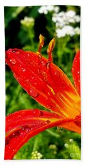 Lily And Raindrops Beach Towel
