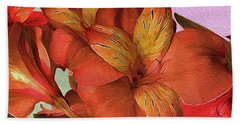 Lily Bouquet In North Light Beach Towel