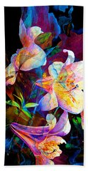 Beach Towel featuring the painting Lily Fiesta Garden by Hanne Lore Koehler