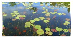Lily Pads And Reflections Beach Sheet by Susan Lafleur
