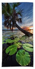 Lily Pads And Sunset Beach Towel
